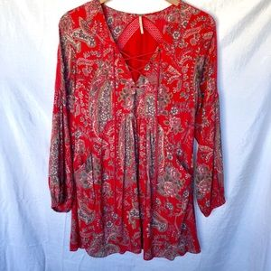 Free People BOHO Tunic Dress Red Floral Size Small